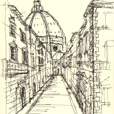 Duomo view from piazza della ss annunziata-Florence